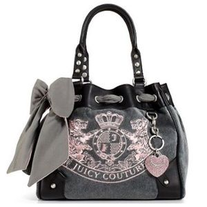 Juicy Couture Gray and Pink Velour Bag